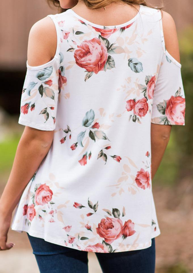 2d039df896f640 Belle lily Floral Cold Shoulder Blouse Without Necklace in White