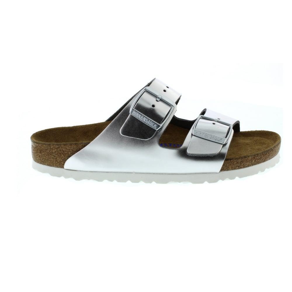 04ee0a2e718 Lyst - Birkenstock Arizona Narrow Fit Soft Footbed in Metallic ...