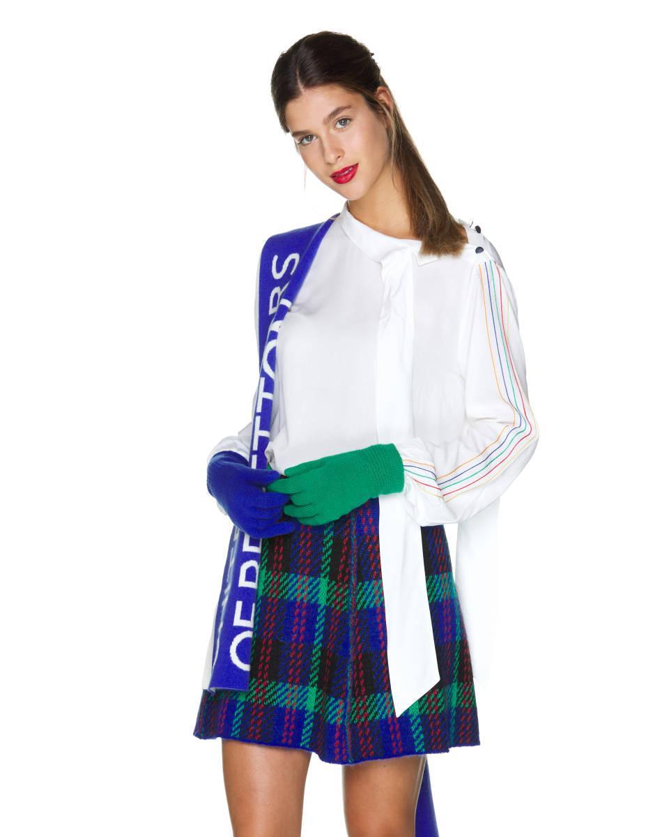 Blusa Con Lazada En El Cuello Benetton de Tejido sintético de color Blanco