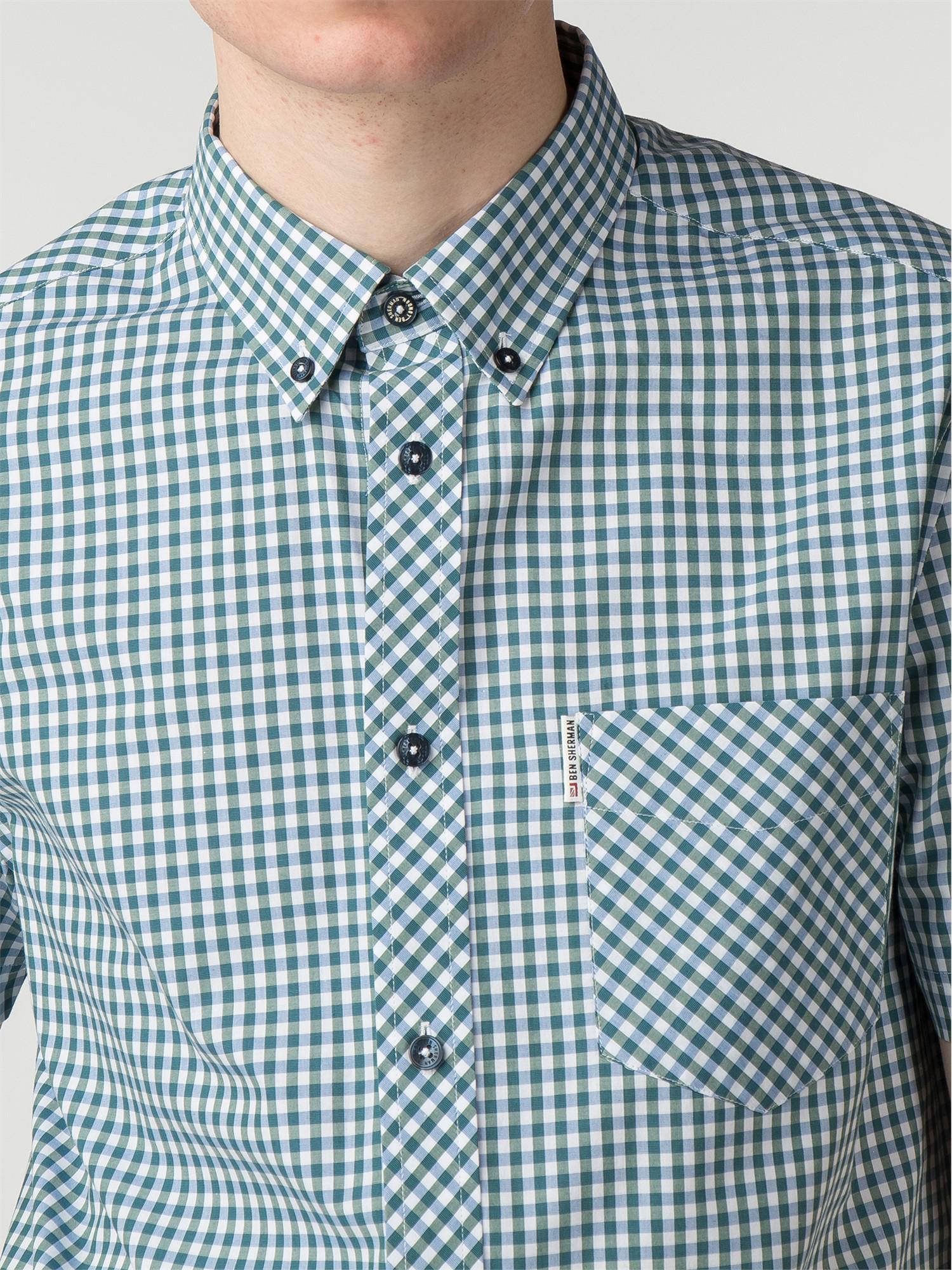 Ben Sherman Check Short Sleeve Shirt Blue Depths 0049964