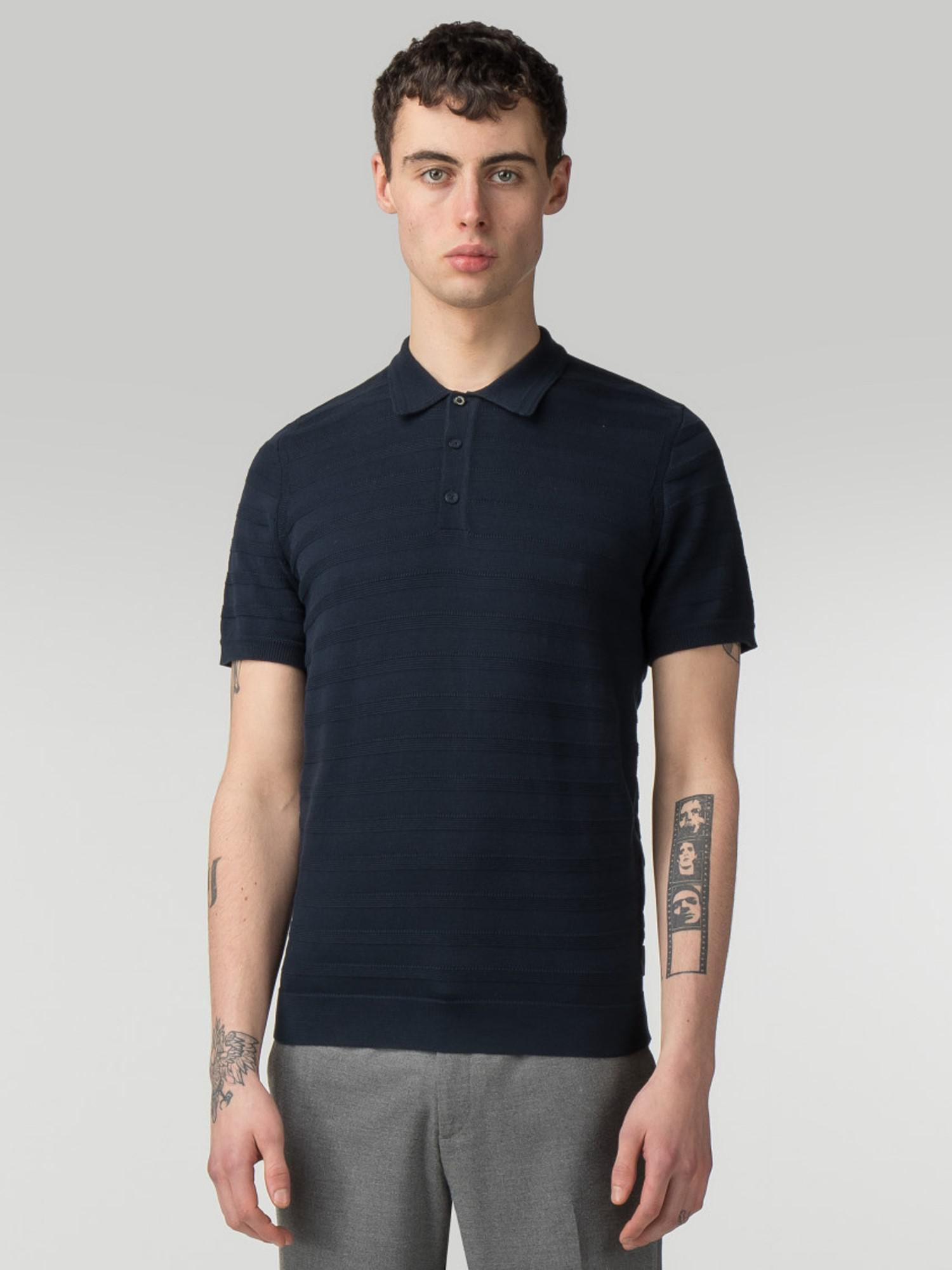 3537114031522 Ben Sherman The Textured Stripe Polo Knit in Blue for Men - Lyst