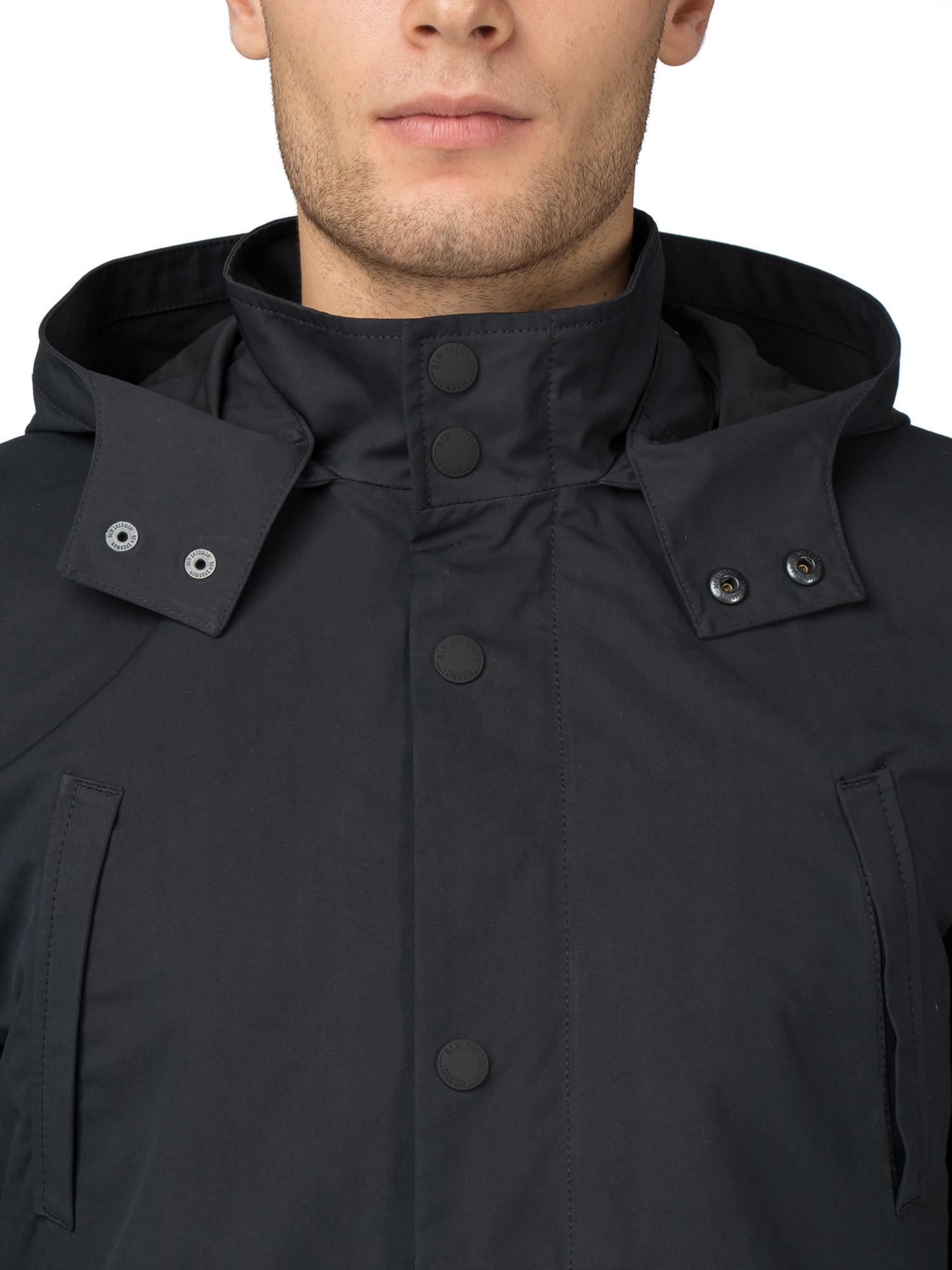 Ben Sherman Mens Luxe 3//4 Length Hooded Mac Jacket Light Fleece Lined Coat Green
