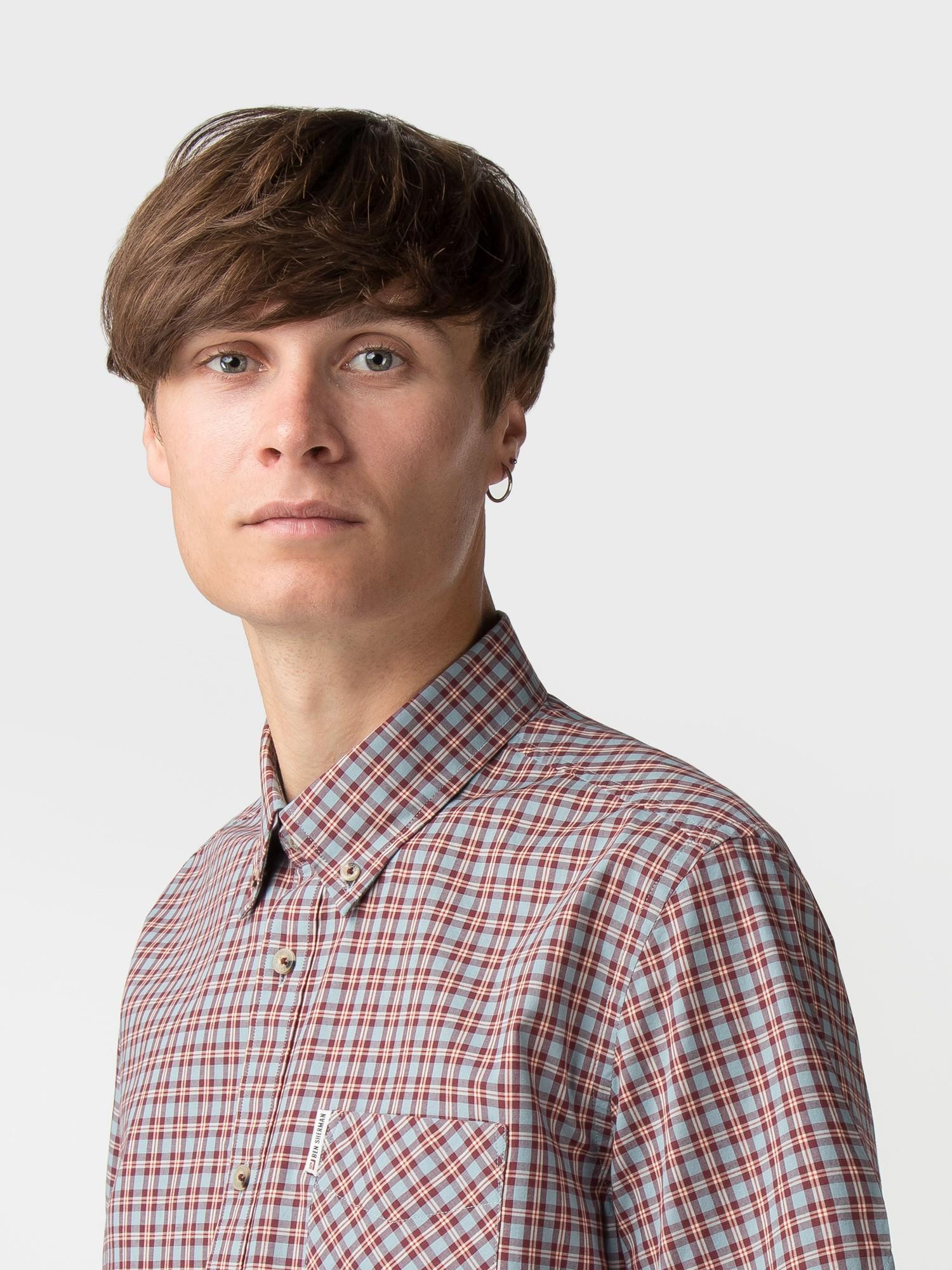 Ben Sherman Cotton Port Short Sleeve Pop Check Shirt for Men