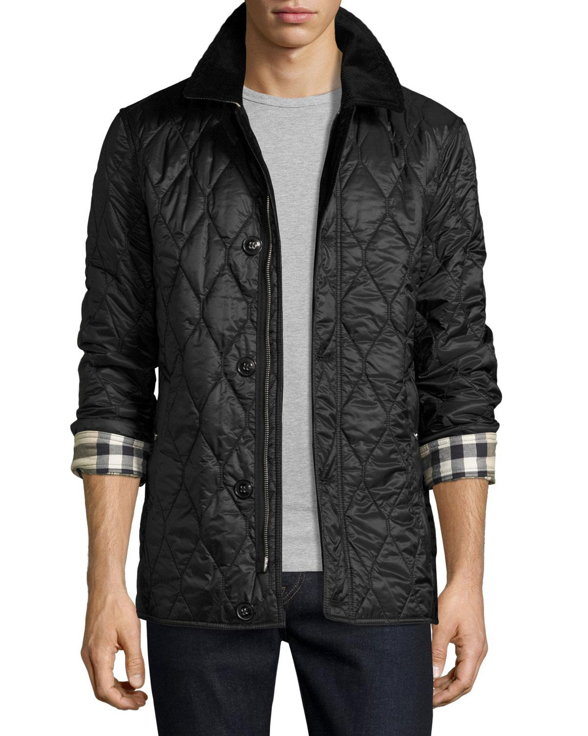 Lyst Burberry Corduroy Collar Quilted Jacket In Black
