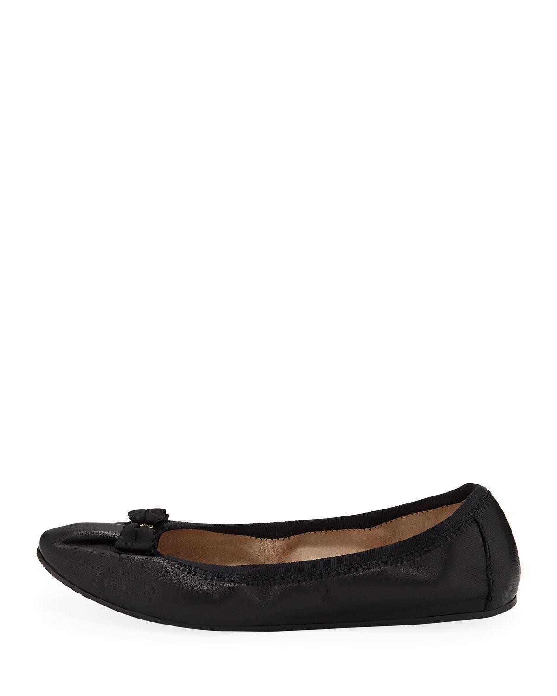 fd37295b28 Lyst - Ferragamo My Joy Leather Slip-on Ballet Flats in Black