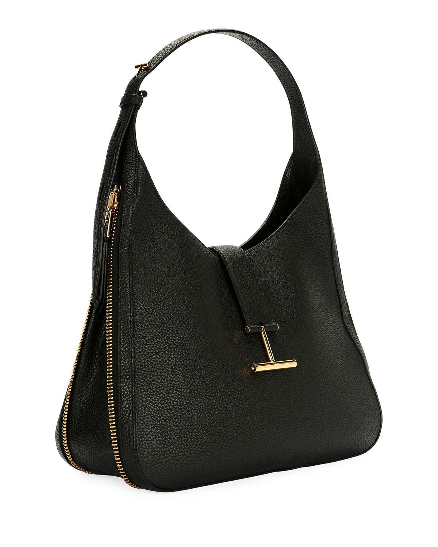 25990733f5 Lyst - Tom Ford Tara Grain Lux Calf Shoulder Hobo Bag in Black