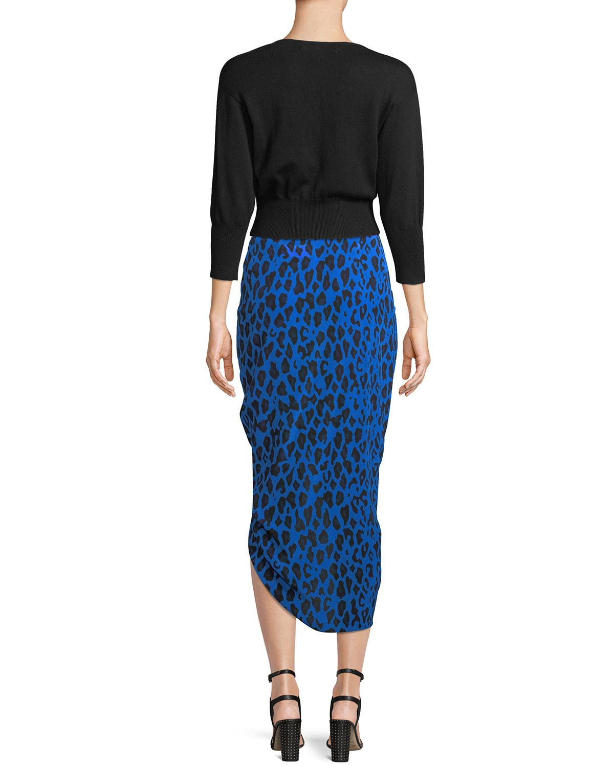 a943a9bd14 Diane von Furstenberg Ruched Leopard-print Silk Pencil Skirt in Blue ...