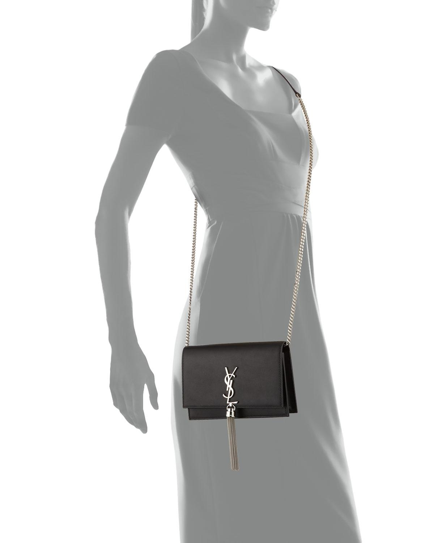 581cd2d378 Lyst - Saint Laurent Kate Monogram Ysl Tassel Wallet On Chain in Gray