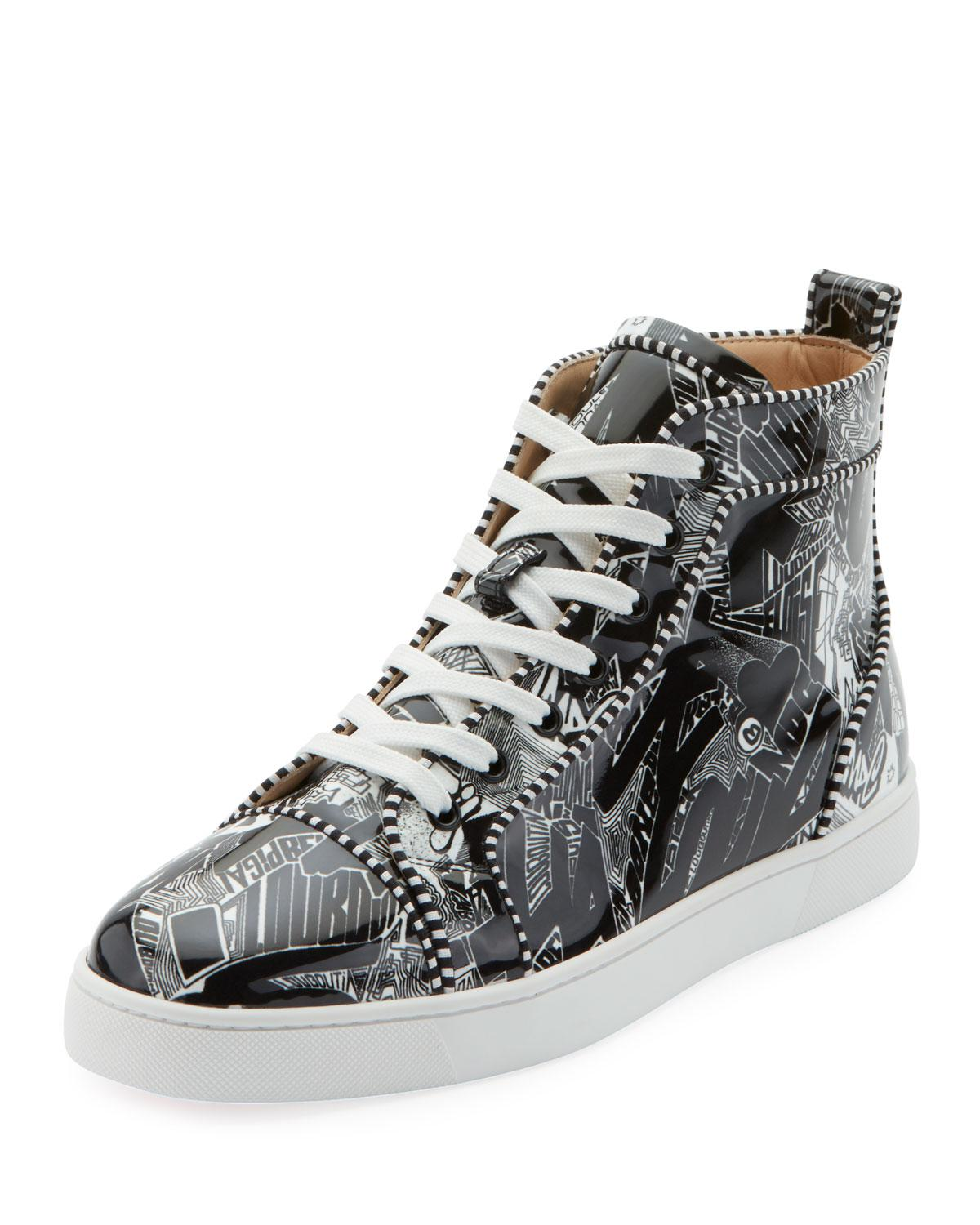 reputable site f3d3b c334e Christian Louboutin Black Men's Louis Orlato Graffiti High-top Sneakers for  men