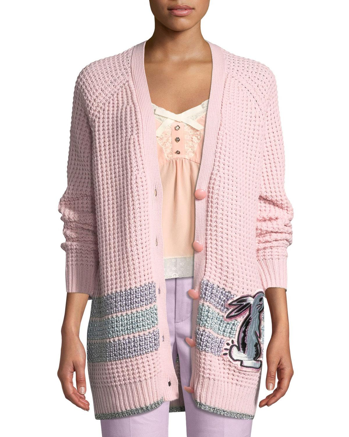 1b53ee3a20 Women's Pink X Selena Gomez Embroidered Wool-blend Cardigan