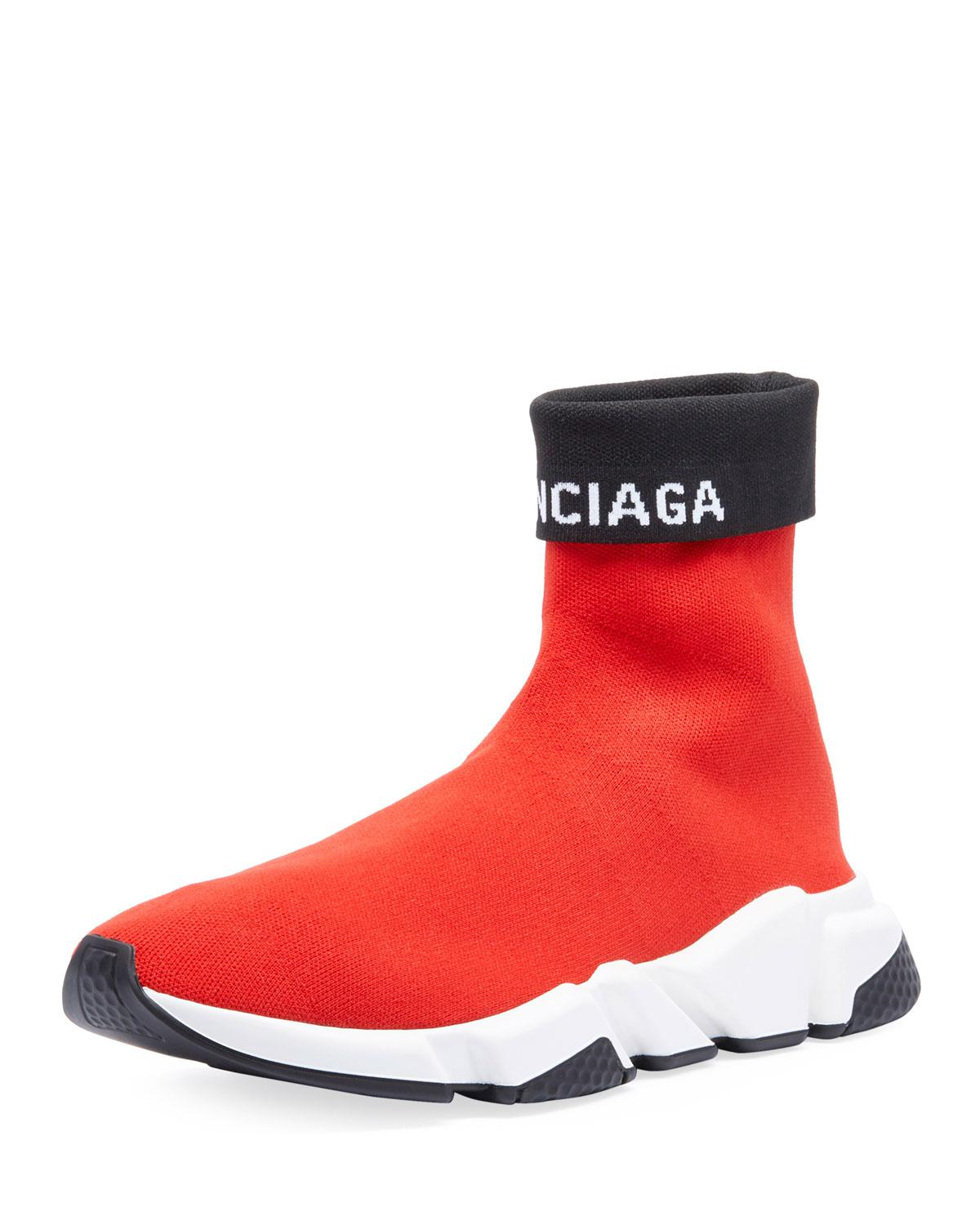 e7fdc61eb052b Balenciaga Men s Speed High-top Fold-over Sock Sneakers in Red for ...