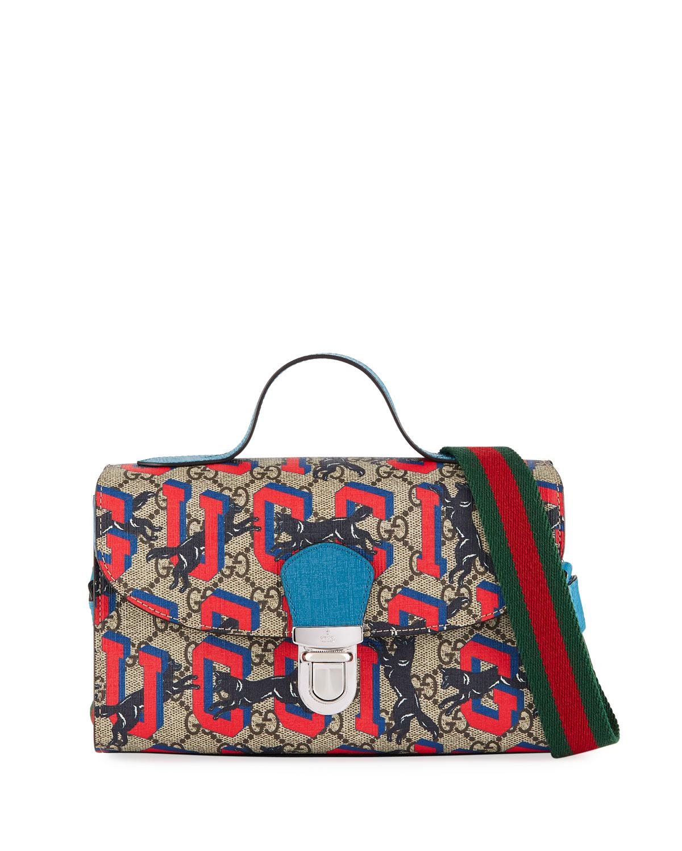 42c435f93e8e Gucci Kids' Wolves-print Gg Supreme Top-handle Flap Bag in Blue - Lyst