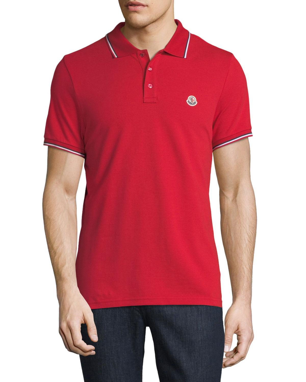 f0c3c6d76df0 Lyst - Moncler Classic Pique Patch Polo Shirt in Red for Men