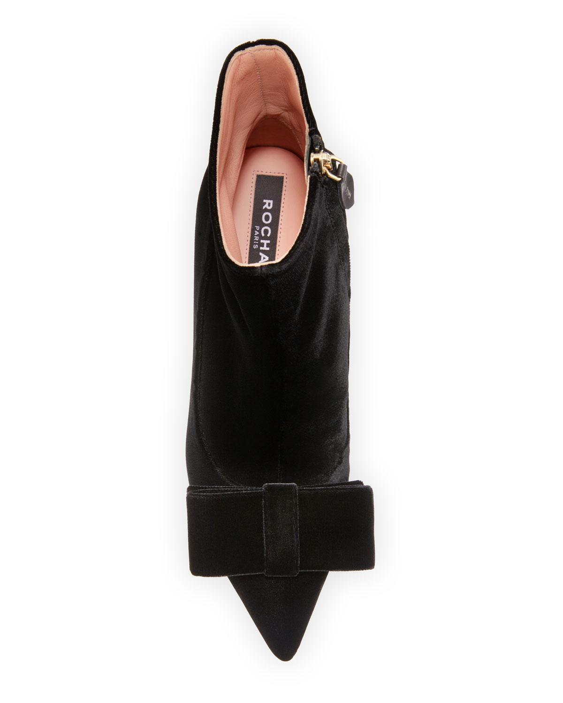 bbb40b23e19 Rochas - Black Velvet Kitten-heel Booties - Lyst