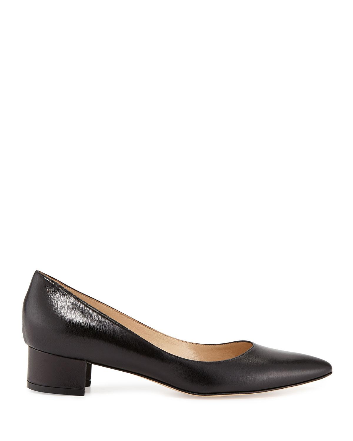 5629bedb72a56 Manolo Blahnik Listony Leather Low-heel Pump in Black - Lyst