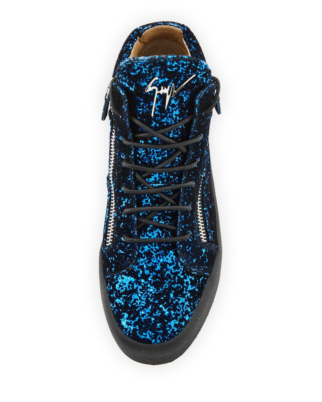 1c68988e957 Lyst - Giuseppe Zanotti Men s Glitter Velvet Mid-top Sneakers in Blue for  Men