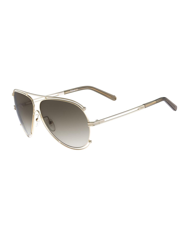 24521c5aa63 Lyst - Chloé Isidora Metal Aviator Sunglasses in Metallic