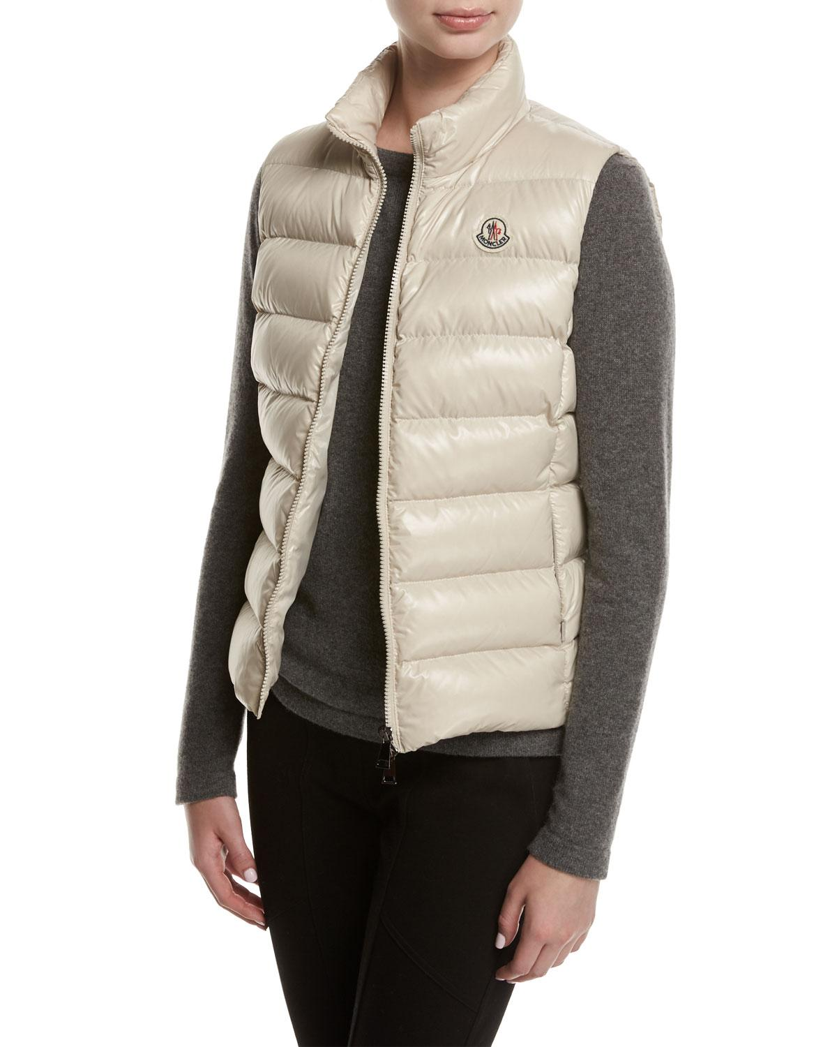 b237a70f2 Moncler Pink Ghany Shiny Quilted Puffer Vest