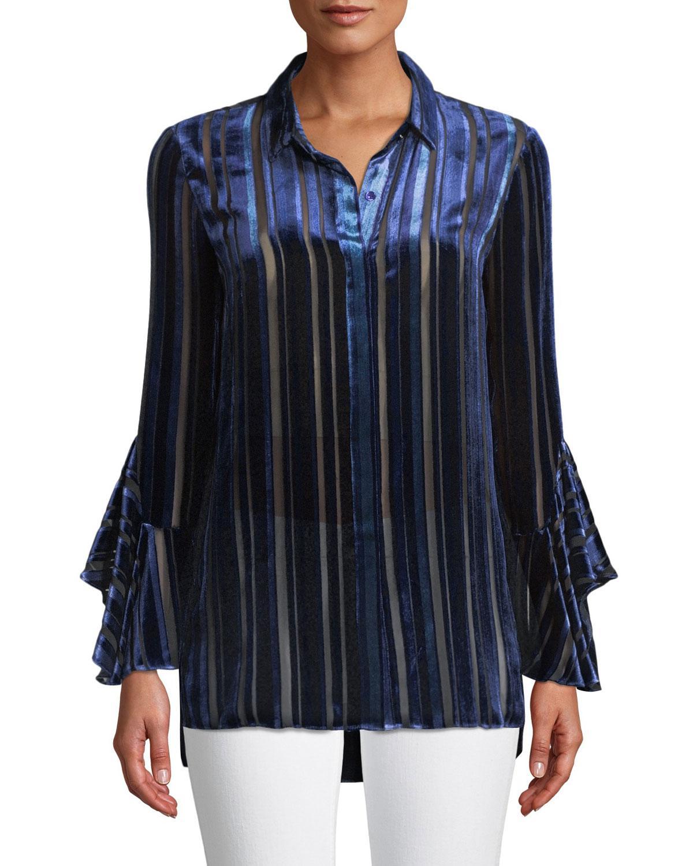 666719c8700507 Lyst - Elie Tahari Button-front Draped-sleeve Striped Velvet Burnout ...
