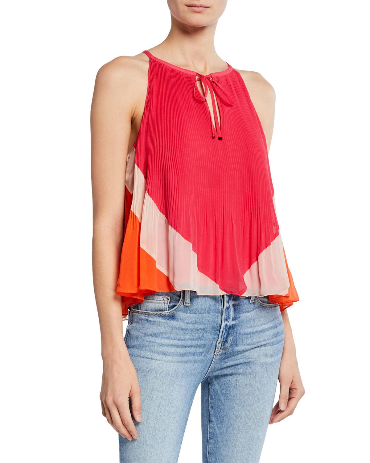 008346ea43fe4 Lyst - Ramy Brook Nitsan Colorblock Sleeveless Pleated Top in Pink