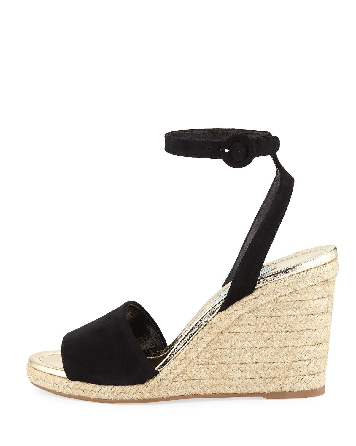 2e49835d2fa Lyst - Prada Suede Wedge Espadrille Sandals in Black