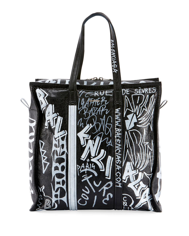 Balenciaga. Women s Black Men s Bazar Medium Graffiti Leather Shopper Tote  Bag 858ec196066a9