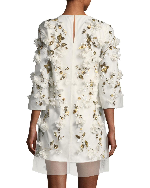 72479de1d03 Marchesa notte Embellished 3d Floral Sequin Tunic Cocktail Dress in ...