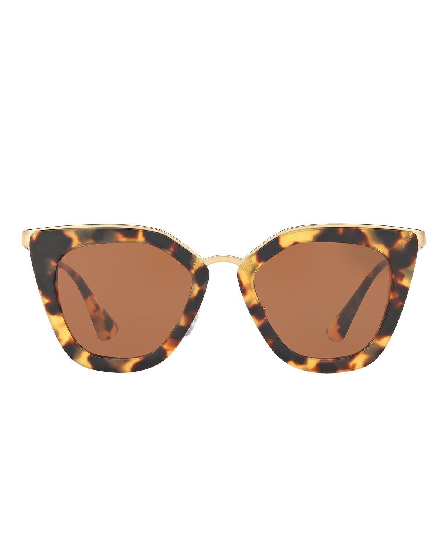 8fd04eda3265 Lyst - Prada Gradient Metal-trim Geometric Cat-eye Sunglasses in Brown