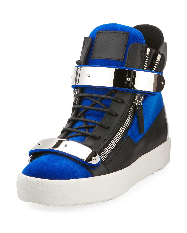 Velvet Double-bar High-top Sneakers