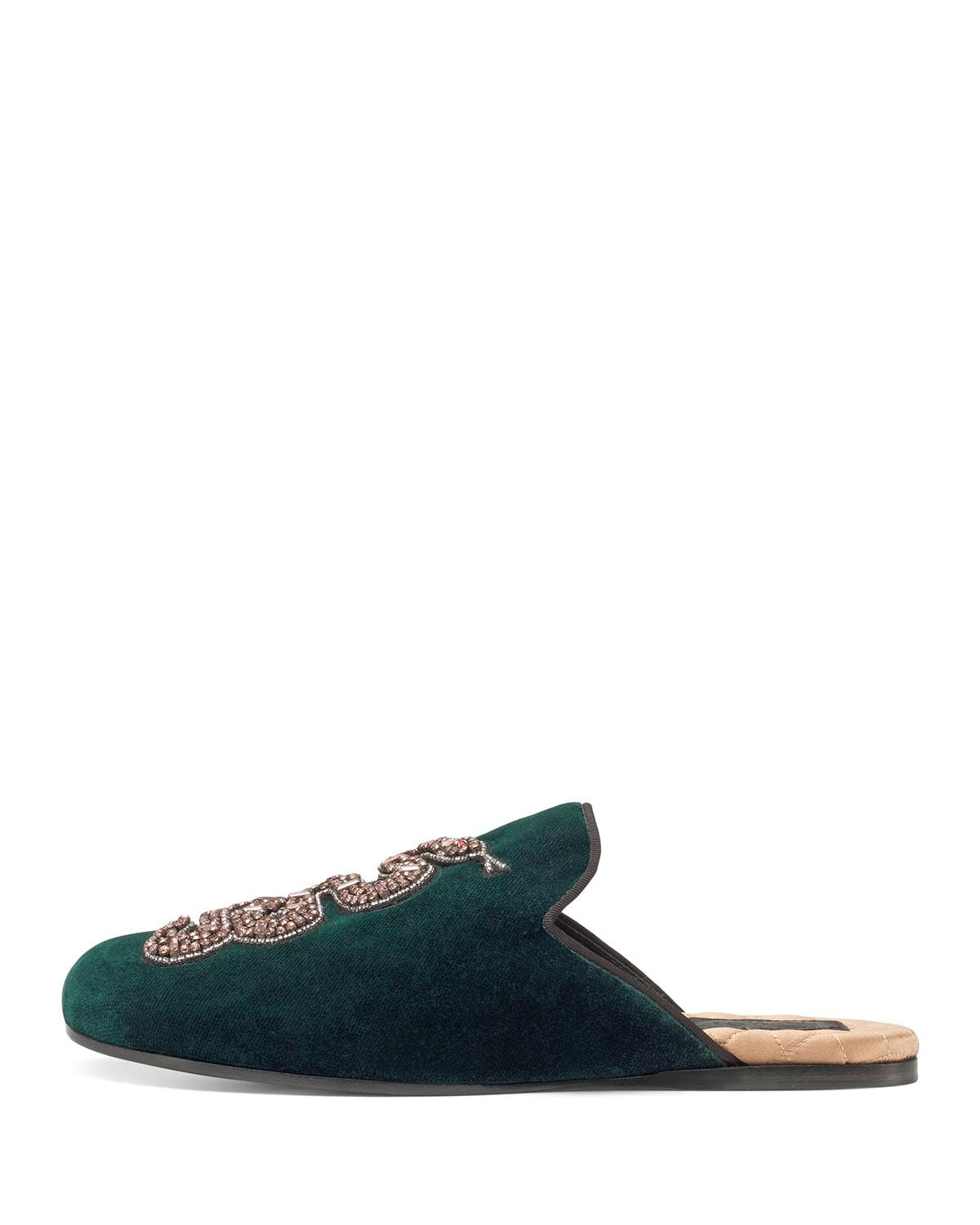 e288a0317 Gucci Lawrence Crystal Snake Mule in Green - Lyst