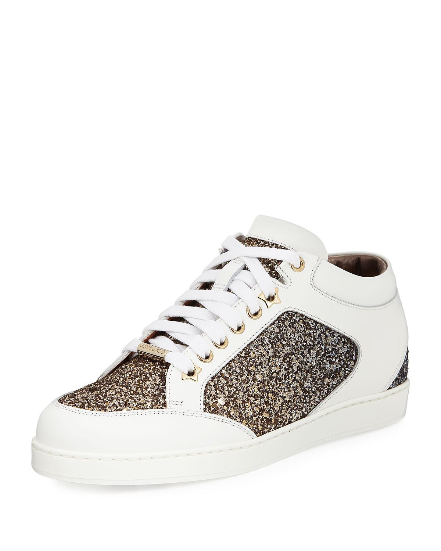 b3362447d833 Lyst - Jimmy Choo Miami Low-top Glitter leather Sneaker in Metallic ...