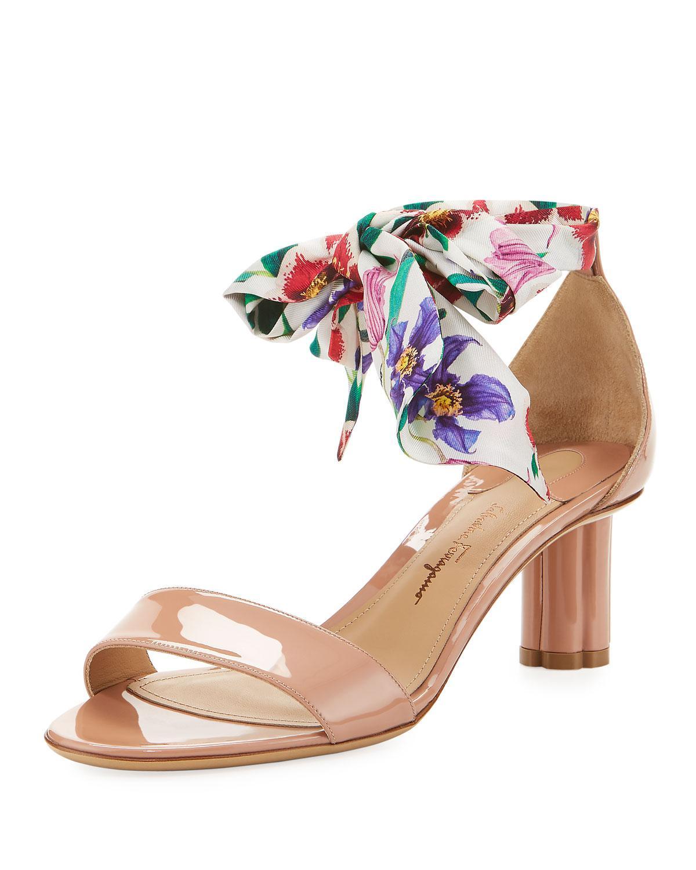 Tursi Mid Patent Sandals with Scarf Tie in Dark Pink Patent Leather Salvatore Ferragamo HvCEykB64