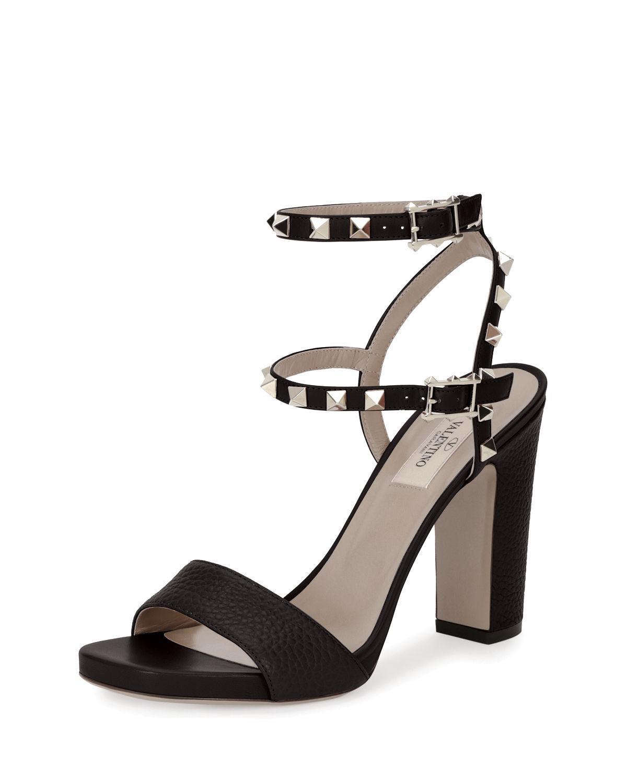 41b87b4d4e23 Valentino Rockstud 100mm Chunky-heel Sandal in Black - Lyst