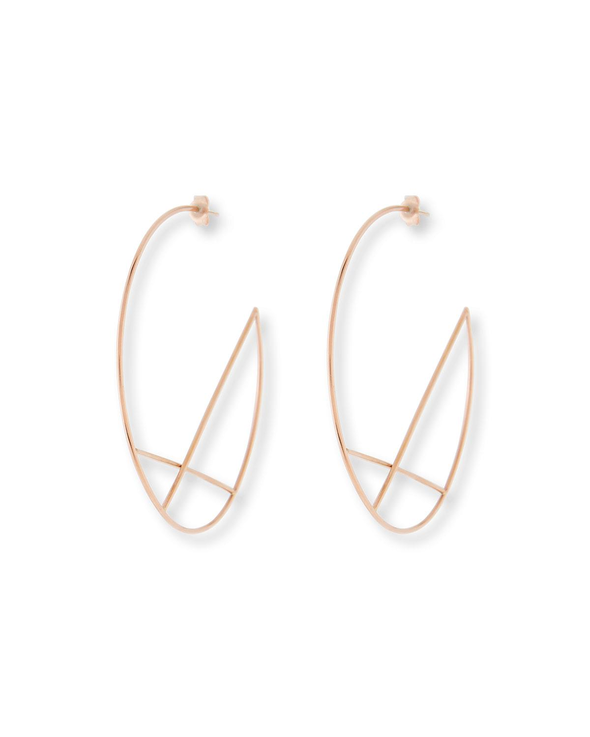 Lana Jewelry 14k Wire Diagonal Cross Eclipse Hoop Earrings 1ytj6
