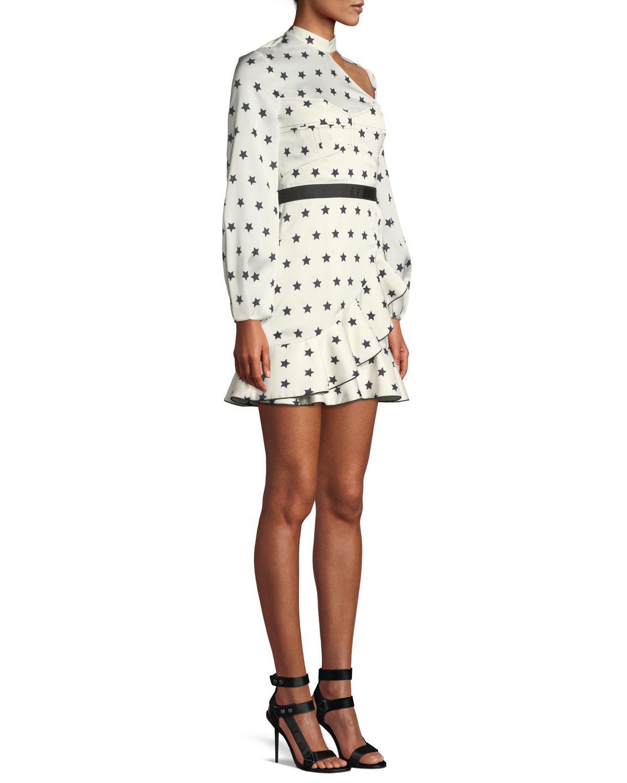 9c36f8a6a6158 Self-Portrait Long-sleeve Satin Star-print Frill Mini Cocktail Dress ...
