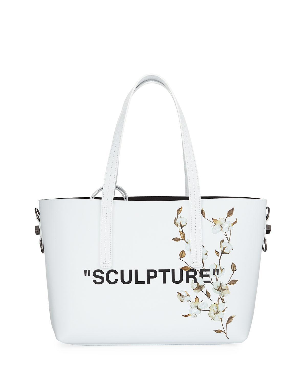 5ba927a80 Off-White c/o Virgil Abloh. Women's White Cotton Flower Shopper Tote Bag