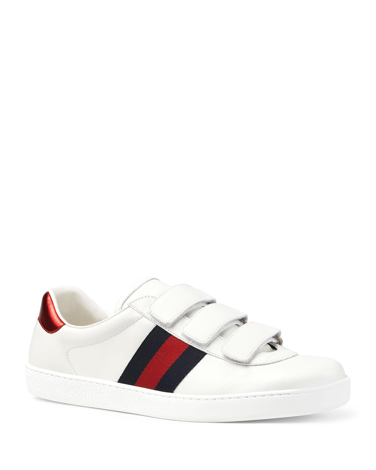 Gucci Men's Leather Grip-strap Sneakers