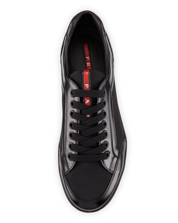 Nylon \u0026 Patent Leather Low-top Sneakers