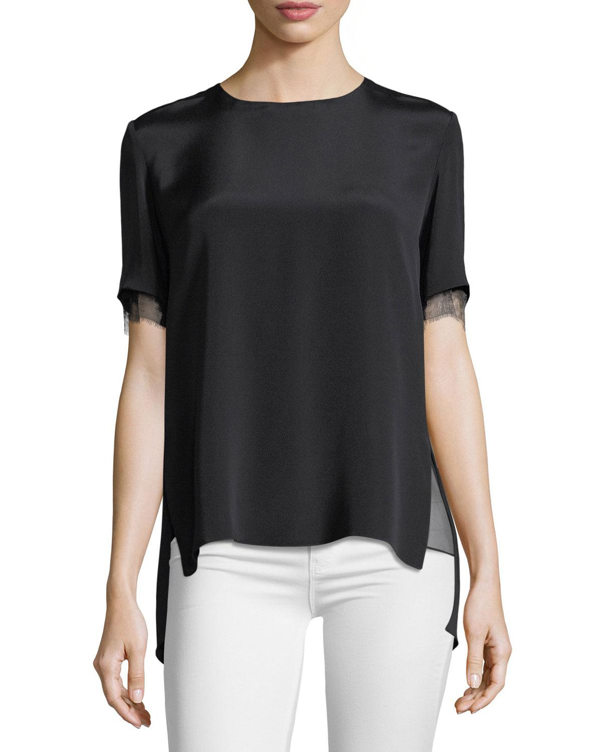 Lyst adam lippes lace trim crepe t shirt in black for Adam lippes t shirt