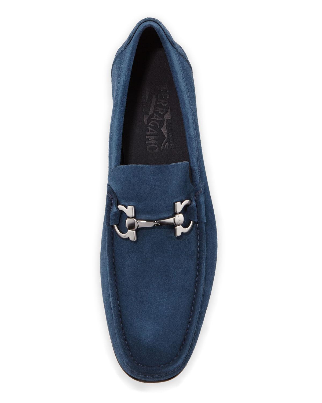 d4a8a49093c Ferragamo Men s Fiordi Suede Loafers With Gancini Bit in Blue for Men - Lyst