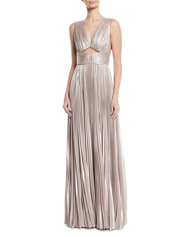 Lyst - J. Mendel V-neck Cutout-waist Plisse Column Evening Gown