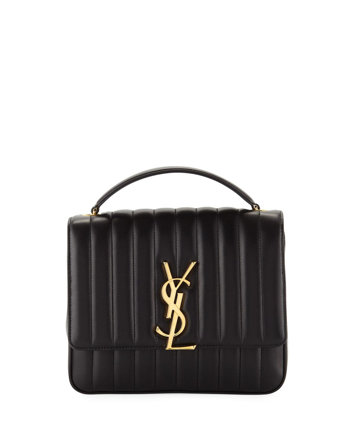 Saint Laurent. Women s Black Vicky Monogram Ysl Large Quilted Leather Chain  ... 0d61ee26346e6