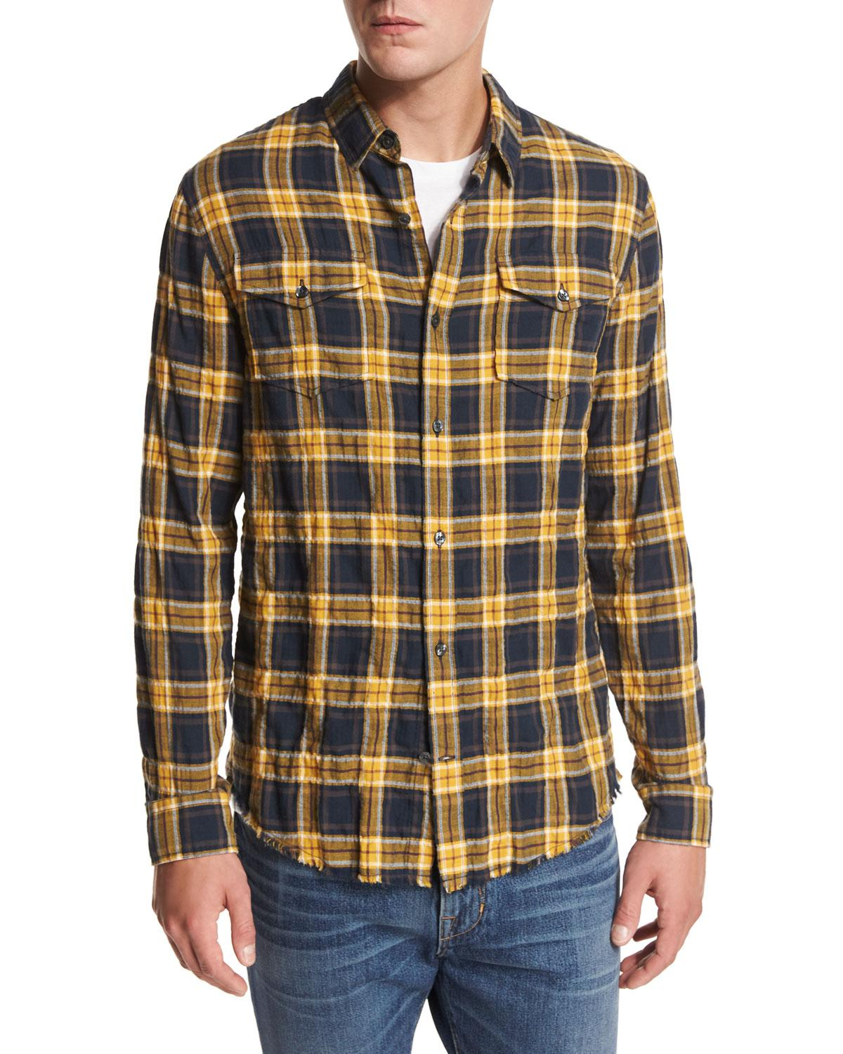 Lyst vince frayed edge plaid western shirt for men for Blue and yellow plaid dress shirt