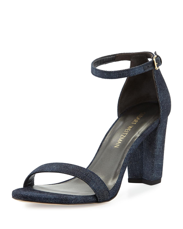 2a4590cbd575 Lyst - Stuart Weitzman Nearlynude Denim City Sandals in Blue - Save 25%