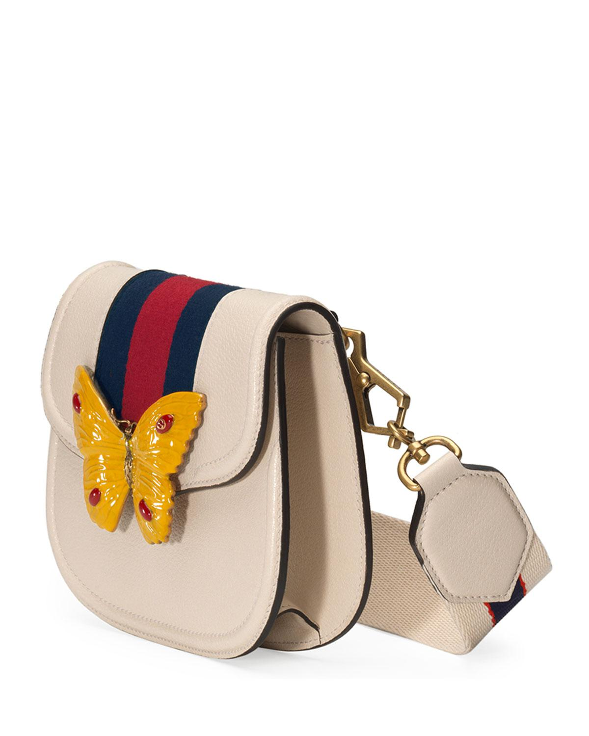b723b2d903518 Lyst - Gucci Linea Totem Small Leather Shoulder Bag With Butterfly ...