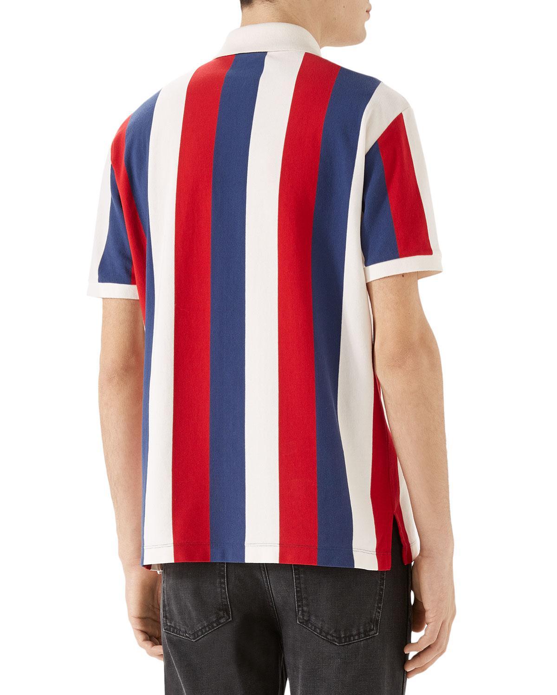 e10cd0a4b Gucci Men's Striped Piqué Polo Shirt in Blue for Men - Lyst