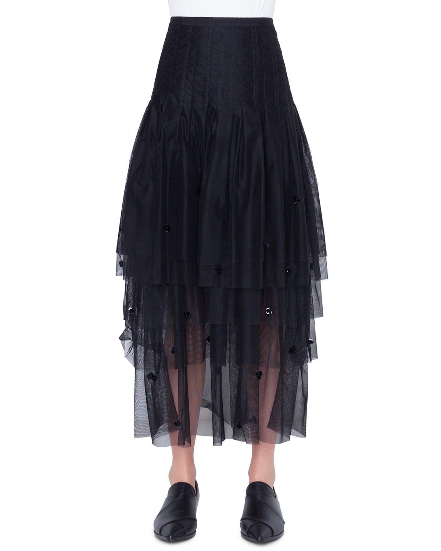 8554b9b9b3a1 Lyst - Akris Punto Women's Tulle 3-d Sequin Midi Skirt - Black ...