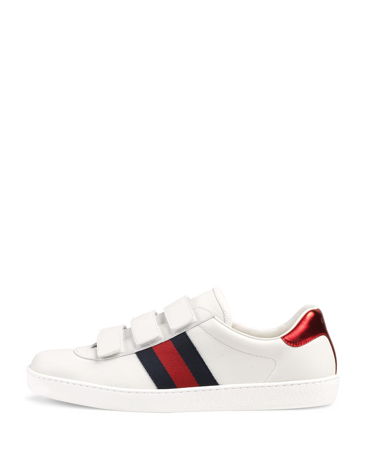 c2bc3fb997d Lyst - Gucci Men s Leather Grip-strap Sneakers With Web in White for Men