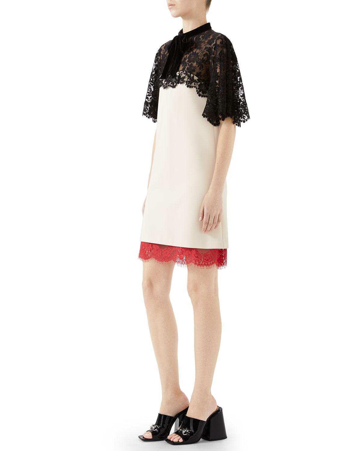 55d62a410 Lyst - Gucci A-line Stretch-jersey Dress With Floral-lace Top & Hem in White