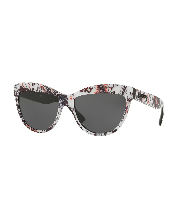 28c14094bac9 Burberry. Women s Doodle Cat-eye Acetate Sunglasses